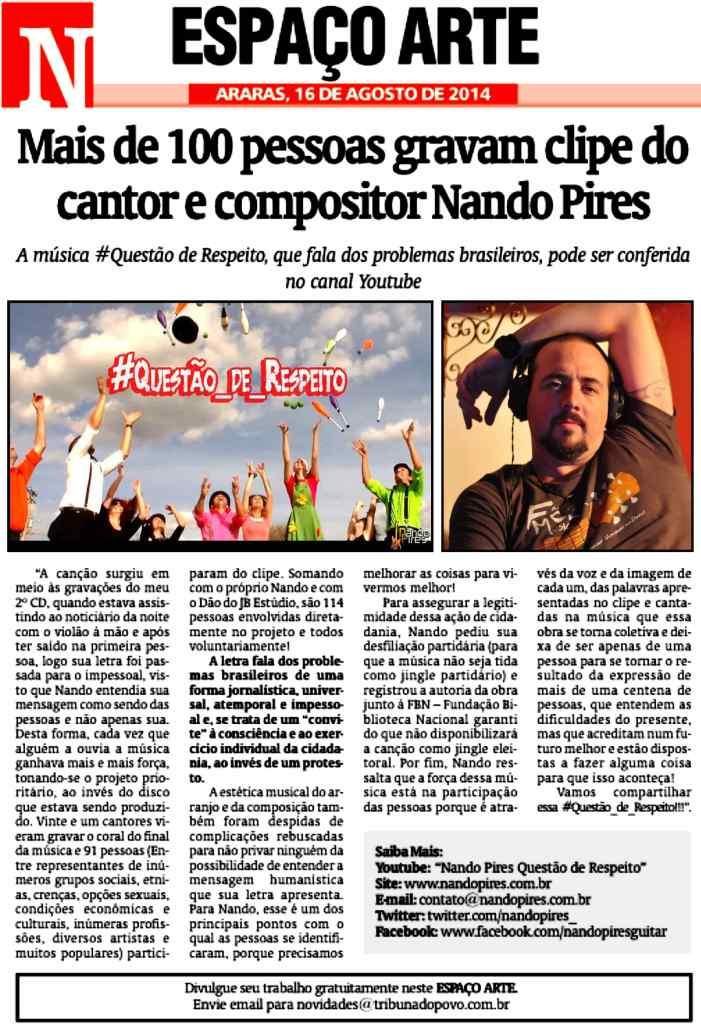 Mais de 100 pessoas gravam clipe do cantor e compositor Nando Pires - Tribuna do Povo