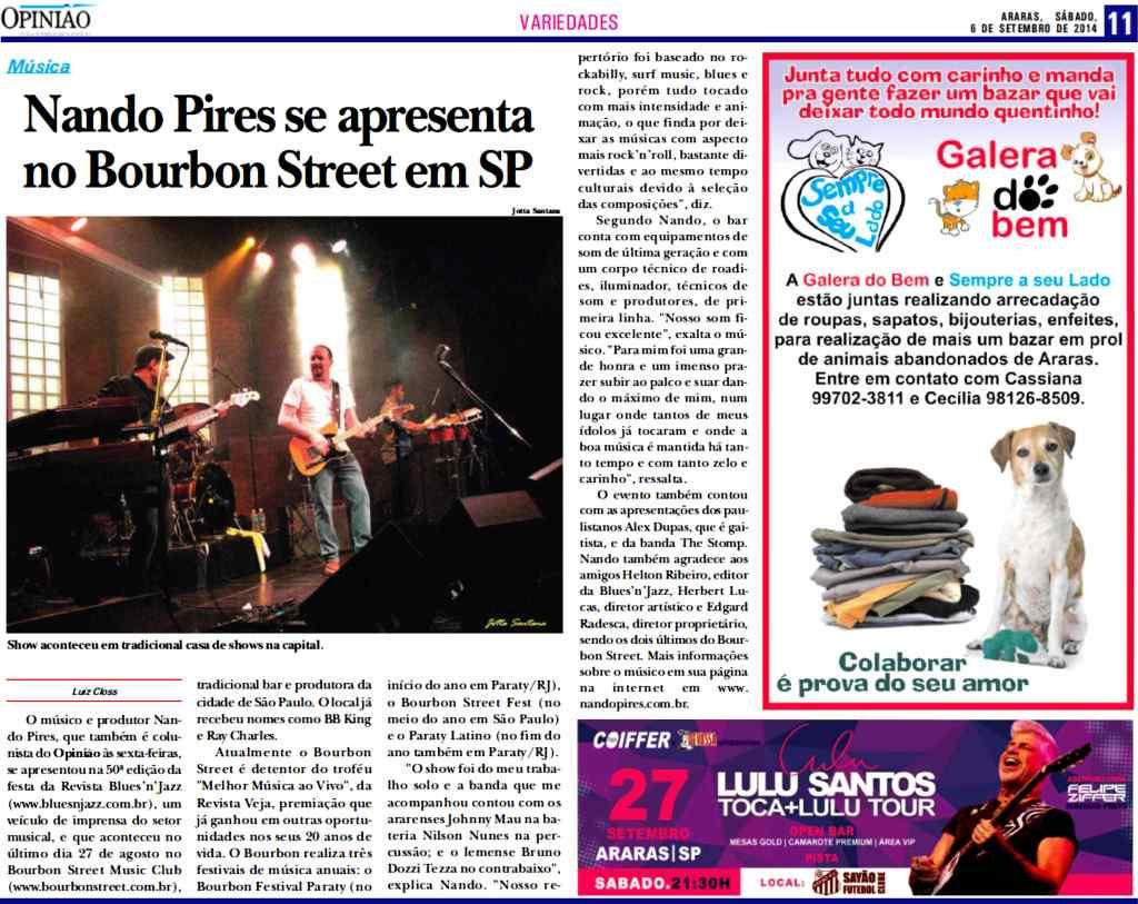 Nando Pires se apresenta no Bourbon Street em SP - Formato Horizontal - NP