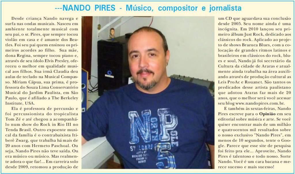 Resenha sobre Nando Pires - por Daniel Fabri - pelo Opinião Jornal de Araras - 02-04-2013